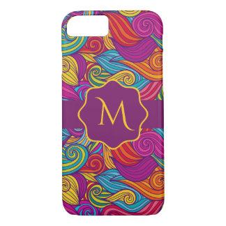 Retro Colorful Jewel Tone Swirly Wave Pattern iPhone 7 Case