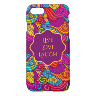 Retro Colorful Jewel Tone Swirly Wave Pattern iPhone 8/7 Case