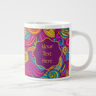 Retro Colorful Jewel Tone Swirly Wave Pattern Large Coffee Mug