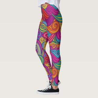 Retro Colorful Jewel Tone Swirly Wave Pattern Leggings