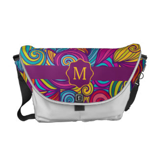 Retro Colorful Jewel Tone Swirly Wave Pattern Messenger Bag