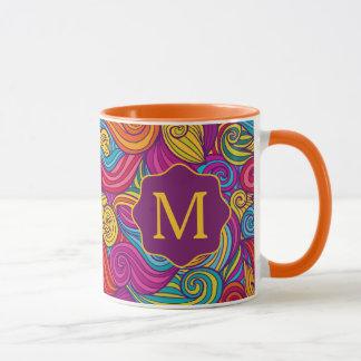 Retro Colorful Jewel Tone Swirly Wave Pattern Mug