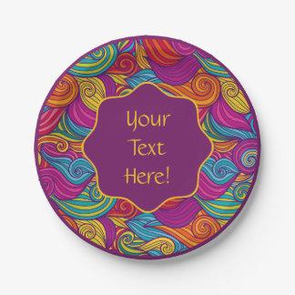 Retro Colorful Jewel Tone Swirly Wave Pattern Paper Plate