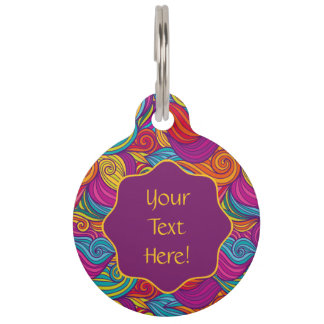 Retro Colorful Jewel Tone Swirly Wave Pattern Pet Tag