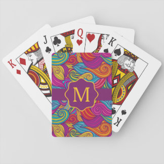 Retro Colorful Jewel Tone Swirly Wave Pattern Playing Cards