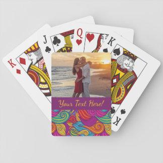 Retro Colorful Jewel Tone Swirly Wave Pattern Poker Deck