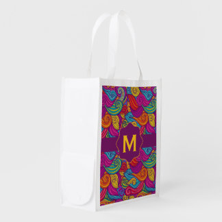 Retro Colorful Jewel Tone Swirly Wave Pattern Reusable Grocery Bag