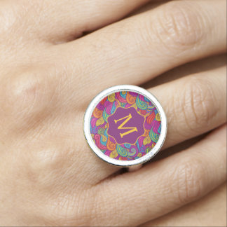 Retro Colorful Jewel Tone Swirly Wave Pattern Rings