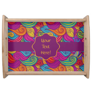 Retro Colorful Jewel Tone Swirly Wave Pattern Serving Tray