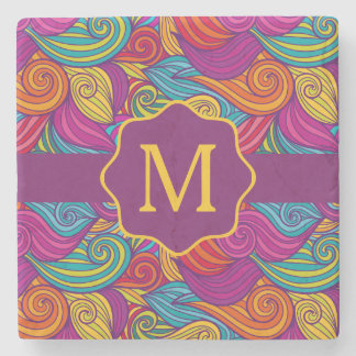 Retro Colorful Jewel Tone Swirly Wave Pattern Stone Coaster