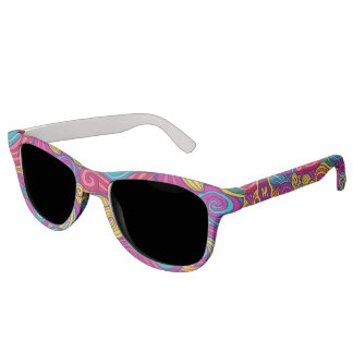 Retro Colorful Jewel Tone Swirly Wave Pattern Sunglasses