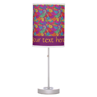 Retro Colorful Jewel Tone Swirly Wave Pattern Table Lamp
