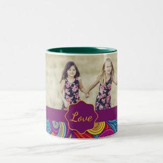 Retro Colorful Jewel Tone Swirly Wave Pattern Two-Tone Coffee Mug