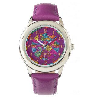 Retro Colorful Jewel Tone Swirly Wave Pattern Wristwatch
