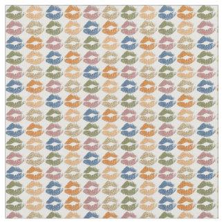 Retro Colorful Lips Fabric