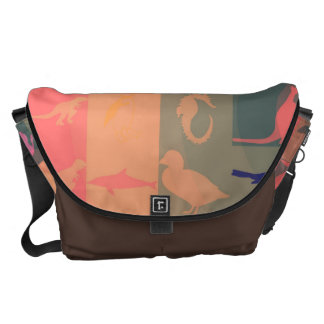 Retro Colorful Modern Animals Pattern Courier Bag
