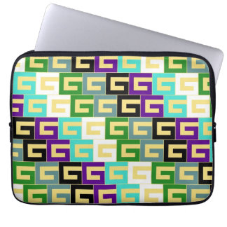 Retro Colorful Modern Geometric Pattern Laptop Sleeve