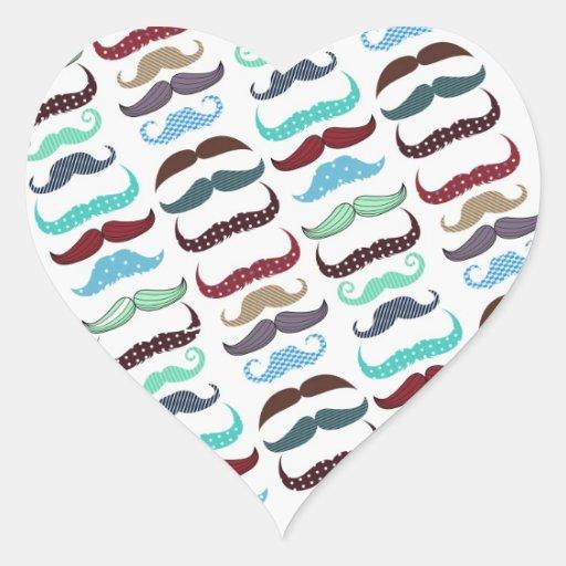 Retro Colorful Mustache Pattern Heart Stickers