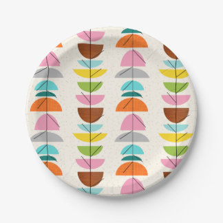 Retro Colorful Nests Paper Plate