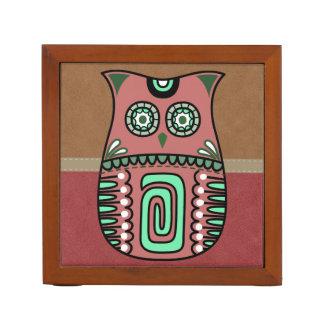 Retro Colorful Owl Boho Bohemian Bird Custom Desk Organizer