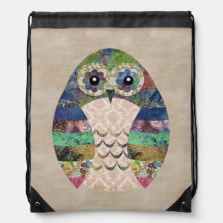 Retro Colorful Owl Boho Bohemian Bird Custom Drawstring Bag