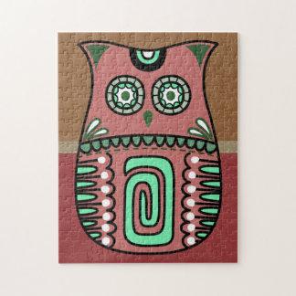 Retro Colorful Owl Boho Bohemian Bird Custom Jigsaw Puzzle