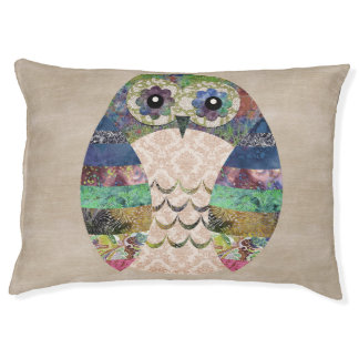 Retro Colorful Owl Boho Bohemian Bird Custom Large Dog Bed