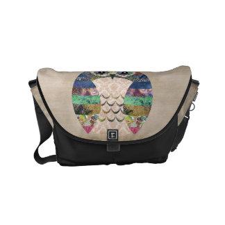 Retro Colorful Owl Boho Bohemian Bird Custom Messenger Bag