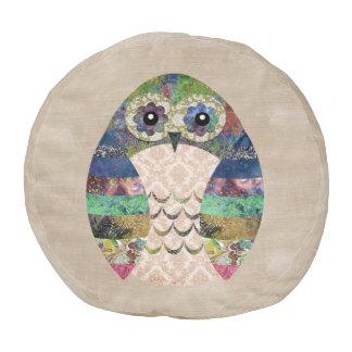 Retro Colorful Owl Boho Bohemian Bird Custom Pouf