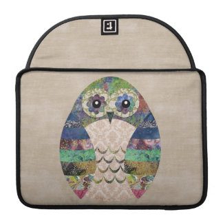 Retro Colorful Owl Boho Bohemian Bird Custom Sleeve For MacBook Pro