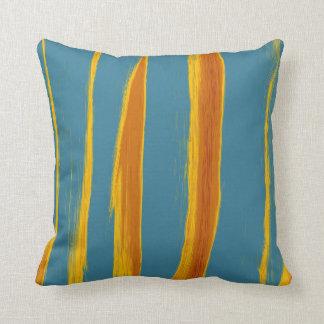 Retro Colorful Painting Stripes Throw Pillow