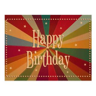 Retro Colorful Sunbeam - Birthday Card Postcard