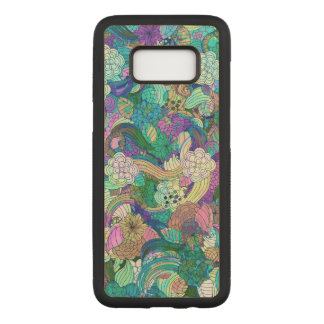 Retro Colorful Swirls & Flowers Pattern Carved Samsung Galaxy S8 Case
