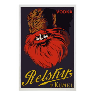 Retro colorful vodka ad poster