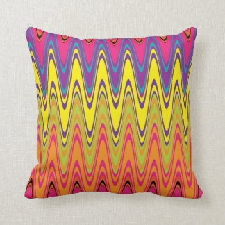 Retro Colorful Waves Pattern Throw Pillow