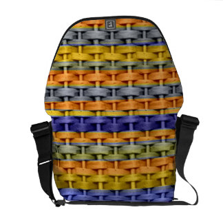 Retro colorful wicker graphic design commuter bag