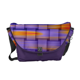 Retro colorful wicker graphic design messenger bags