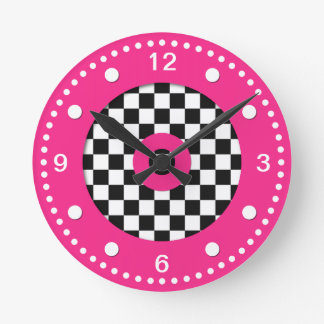 Retro Colors Checks and Hot Pink Wall Clock