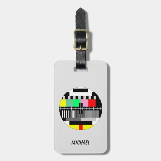 Retro colour tv test screen luggage tag