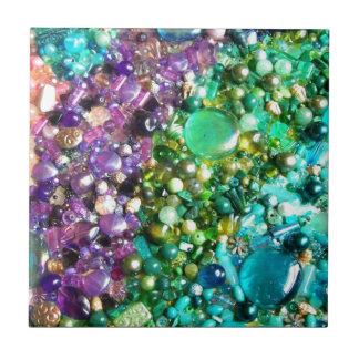 Retro Colourful Mosaic Beads Pattern Tile