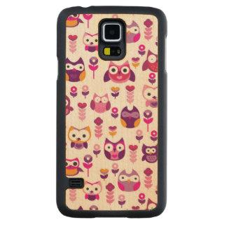 retro colourful owl bird pattern maple galaxy s5 slim case