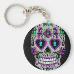 Retro Colourful Sugar Skull Basic Round Button Keychain