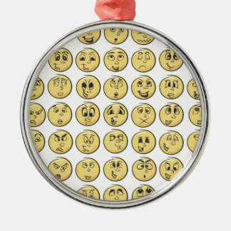 Retro Comic Book Emoji Pattern Silver-Colored Round Ornament