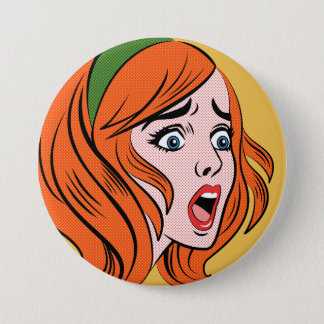 Retro comic style woman in a panic 3 inch round button