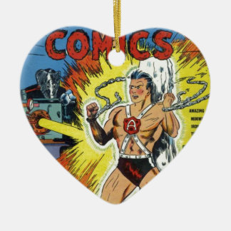 Retro comics ceramic heart ornament