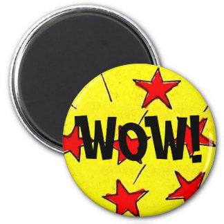 "Retro Comix Stars ""WOW!"" 2 Inch Round Magnet"