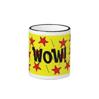 """Retro Comix Stars """"WOW!"""" Mugs"""