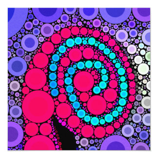 Retro Concentric Circles Cool Swirl Pattern Personalized Announcements