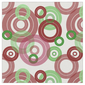 Retro concentric rings red and green design fabric