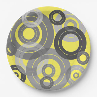 Retro concentric rings/ vinyl records paper plate